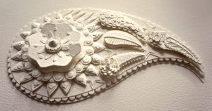 "Paper Sculpture 6"" x 6"" www.karenbrooksartwork.com"